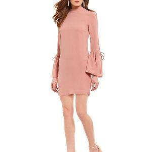 WAYF Martina Tie Bell Sleeve Dress Nude Rose Small